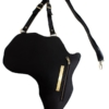Black Leather Africa Shaped Bag Front