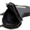 Black Leather Africa Shaped Bag Inside