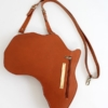 Tan Leather Africa Shaped Bag Front