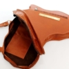 Tan Leather Africa Shaped Bag Inside